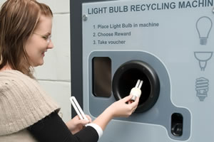 Light Bulb recycling machine in use